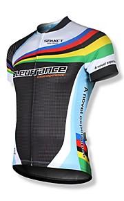 SPAKCT Homme Manches Courtes Maillot de Cyclisme - Noir / Blanc Vélo Maillot, Séchage rapide, Respirable, Bandes Réfléchissantes