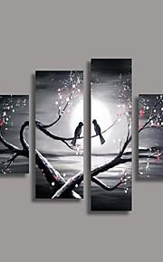 Ручная роспись Цветочные мотивы/ботанический Любые формы, Европейский стиль Modern Hang-роспись маслом Украшение дома 4 панели