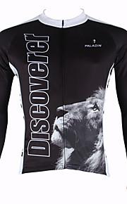 ILPALADINO Homme Manches Longues Maillot de Cyclisme - Noir Animal Vélo Maillot, Garder au chaud, Séchage rapide, Résistant aux