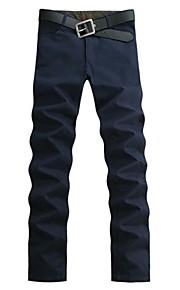 สำหรับผู้ชาย ฝ้าย หลวม / รีแล็กซ์ / กางเกง Chinos กางเกง - สีพื้น ฟ้า / สุดสัปดาห์