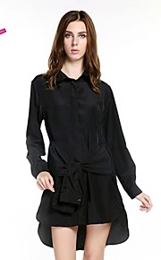 Women's Casual/Daily Dress,Solid Above Knee Long Sleeve Black Polyester Spring / Fall