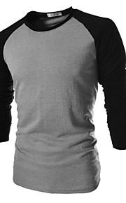 Ανδρικά Μεγάλα Μεγέθη T-shirt Βαμβάκι Μονόχρωμο Μαύρο XL / Μακρυμάνικο