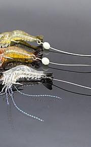 3 pcs Leurre souple leurres de pêche Ecrevisses / Crevette Leurre souple Plastique souple Lumineux Pêche en mer Pêche d'eau douce Pêche
