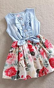 아동 여아 단 일상 / 홀리데이 플로럴 리본 민소매 면 드레스 레드