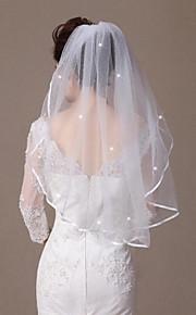 Une couche Bord ruban Bord orné de perles Voiles de Mariée Voiles longueur coude Avec Style cristal dispersé 31,5 in (80cm) Tulle
