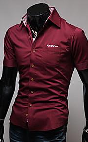 رجالي قطن قميص نحيل ياقة مفرودة أساسي لون سادة أسود L / كم قصير / الصيف