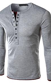 Ανδρικά T-shirt Καθημερινό/Επίσημο Απλό Μακρυμάνικο Βαμβάκι