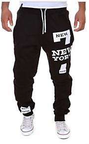 Men's Active / Basic Cotton Loose Sweatpants Pants - Letter Black / Red / Sports / Drawstring / Weekend