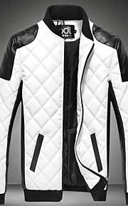 男性用 ジャケット - ベーシック スタンド カラーブロック パッチワーク