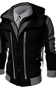 男性用 プラスサイズ スポーツ ベーシック スリム 長袖 パーカジャケット - カラーブロック