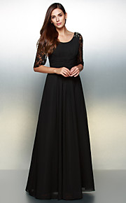 A-Line Scoop Neck Floor Length Chiffon Sheer Lace Formal Evening Dress with Lace by TS Couture®