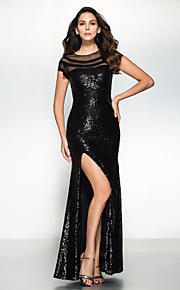 Mermaid / Trumpet Illusion Neckline Floor Length Sequined Formal Evening Dress with Sequin by TS Couture®