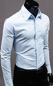 Муж. Офис Большие размеры - Рубашка Классический воротник Деловые Однотонный Винный XL / Длинный рукав / Весна / Осень