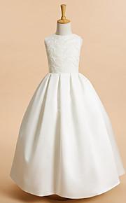 A-vonalú Bokáig érő Virágoslány ruha - Csipke Szatén Ujjatlan Ékszer val vel Csipke által LAN TING BRIDE®