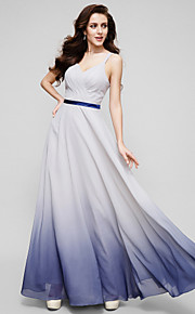 A-Line Straps Floor Length Chiffon Prom / Formal Evening Dress with Criss Cross by TS Couture®