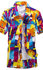 男性用 ビーチ - フラワー / プリント シャツ ボヘミアン レギュラーカラー スリム 幾何学模様 コットン / 半袖