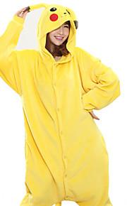 어른' 올인원 캐릭터 파자마 새앙 토끼 새앙 토끼 동물 점프수트 파자마 코럴 플리스(양털) 옐로우 코스프레 에 대한 남자와 여자 동물 잠옷 만화 페스티발 / 홀리데이 의상