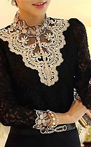 Women's Blouse - Patchwork Black & White Stand / Lace / Fall