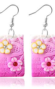Damen Tropfen-Ohrringe - Modisch Purpur Blau Rosa Quadratisch Ohrringe Für Alltag Normal