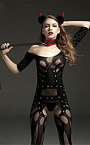 Women's Plus Size Teddy Ultra Sexy Gartered Lingerie Nightwear - Mesh, Solid Colored
