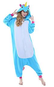 어른' 올인원 캐릭터 파자마 Unicorn 페가수스 동물 점프수트 파자마 폴라 플리스 블루 / 옐로우 + 블루 / 화이트 + 그레이 코스프레 에 대한 남자와 여자 동물 잠옷 만화 페스티발 / 홀리데이 의상