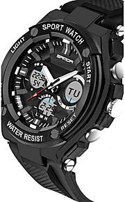 SANDA 남성용 스포츠 시계 스마트 시계 손목 시계 디지털 일본 쿼츠 실리콘 블랙 / 실버 30 m 방수 크로노그래프 LED 아날로그-디지털 사치 캐쥬얼 패션 - 오렌지 레드 블루 2 년 배터리 수명 / 스테인레스 스틸 / 듀얼 타임 존 / 스톱워치 / 야광 / Maxell CR2016