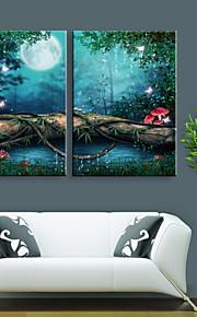 Toile Tendue LED Paysage Deux Panneaux Format Vertical Décoration murale Décoration d'intérieur