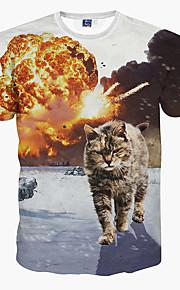 男性用 スポーツ - プリント Tシャツ スリム 動物 猫 / 半袖