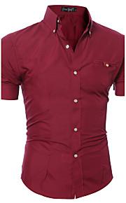 رجالي قطن قميص نحيل ياقة مع زر سفلي أساسي لون سادة زهري XL / كم قصير / الصيف