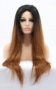 Syntetisk blonder foran parykker Rett Naturlig hårlinje Ombre-hår Brun Dame Blonde Forside Naturlig parykk Syntetisk hår