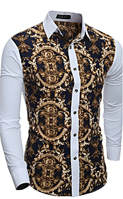 Erkek Pamuklu Klasik Yaka İnce - Gömlek Kırk Yama, Geometrik Vintage Beyaz L / Uzun Kollu / Bahar / Sonbahar