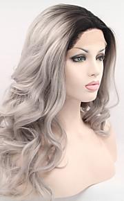 Syntetisk blonder foran parykker Naturlige bølger Ombre-hår Svart Dame Blonde Forside Karneval Parykk Halloween parykk Naturlig parykk