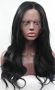 Syntetisk blonder foran parykker Naturlige bølger Varme resistent limfrie Svart Dame Blonde Forside Naturlig parykk Syntetisk hår