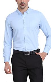 Муж. Офис Классический Рубашка Воротник с уголками на пуговицах (button-down) Деловые Однотонный Светло-синий XL / Длинный рукав / Осень