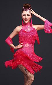 c1e09e69aa Latin tánc Ruhák Női Edzés Műselyem / Spandex Gyöngydíszítés / Csipke /  Rojt Ujjatlan Természetes Ruha