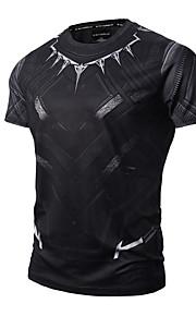 男性用 スポーツ - プリント Tシャツ 活発的 / パンク&ゴシック ラウンドネック スリム 幾何学模様 コットン / 半袖