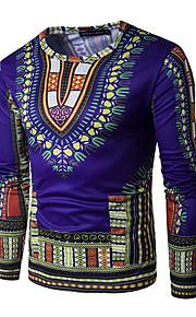 男性用 スポーツ - プリント Tシャツ 活発的 / ボヘミアン / 誇張された ラウンドネック トライバル コットン / 長袖