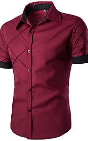 رجالي قطن قميص نحيل ياقة مفرودة أساسي لون سادة أسود XXL / كم قصير / الصيف