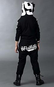 Çocuklar Unisex Karikatür Günlük Spor Dışarı Çıkma Kırk Yama Desen Uzun Kollu Normal Pamuklu Kıyafet Seti Siyah