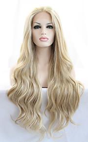 Syntetisk blonder foran parykker Bølget Naturlige bølger Varme resistent Naturlig hårlinje Blond Dame Blonde Forside Naturlig parykk Lang