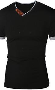 Муж. Рубашка Хлопок, Круглый вырез Однотонный Белый L / Длинный рукав / Весна / Осень