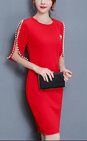 Women's Plus Size Going out Cotton Sheath Dress - Solid Colored Red, Beaded