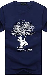 Hombre Deportes Tallas Grandes Agujero / Estampado - Algodón Camiseta, Escote Redondo Animal Gris XXXL / Manga Corta / Verano