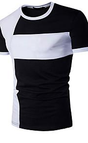 Hombre Activo Deportes Retazos - Algodón Camiseta, Escote Redondo Delgado Bloques Blanco L / Manga Corta / Verano