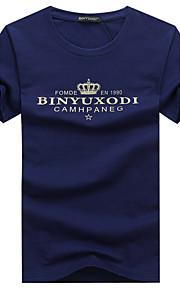 Hombre Deportes Tallas Grandes Estampado - Algodón Camiseta, Escote Redondo Letra Blanco XXXL / Manga Corta / Verano