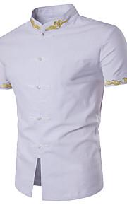 رجالي قميص نحيل رقبة طوقية مرتفعة أساسي لون سادة أبيض L / كم قصير / الصيف