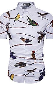 رجالي قطن قميص قياس كبير نحيل طباعة حيوان أبيض XL / كم قصير / الصيف