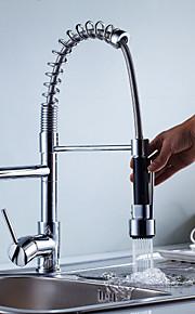 Современный По центру Вытяжная лейка Керамический клапан Одной ручкой одно отверстие Хром, кухонный смеситель