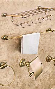 Bad Zubehör-Set Neoklassisch Messing 5 Stück - Hotelbad Toilettenbürstehalter Turmring Turm Bar Toilettenpapierhalter
