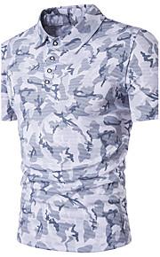 男性用 Polo ストリートファッション シャツカラー カモフラージュ コットン / 半袖